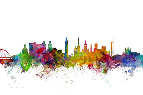 Watercolour Digital Art - Glasgow Scotland Skyline by Michael Tompsett