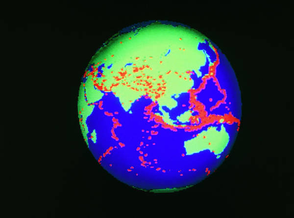 Wall Art - Photograph - Global Distribution Of Large Earthquakes 1963-87 by Mehau Kulyk/science Photo Library