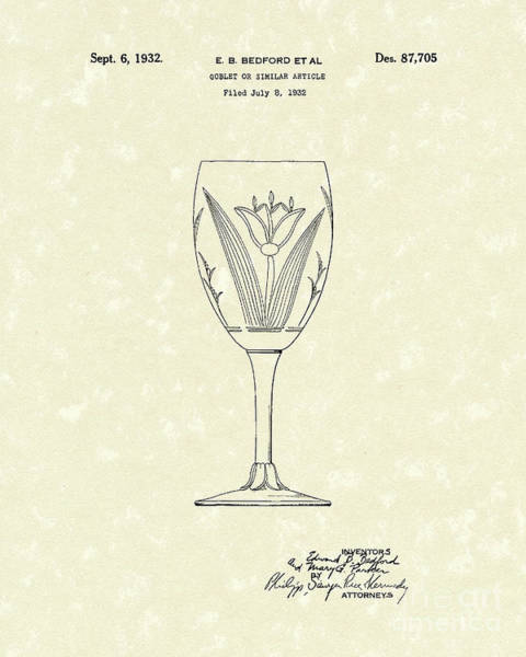 Goblets Wall Art - Drawing - Goblet 1932 Patent Art by Prior Art Design