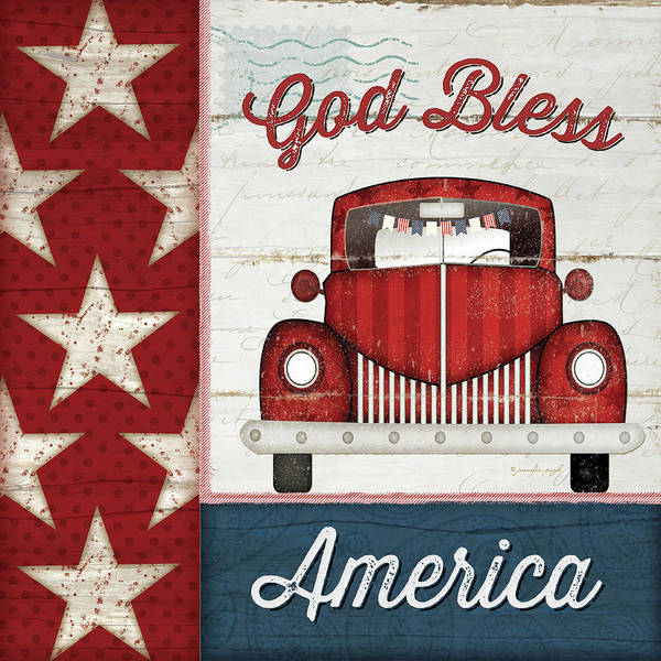 Wall Art - Painting - God Bless America by Jennifer Pugh