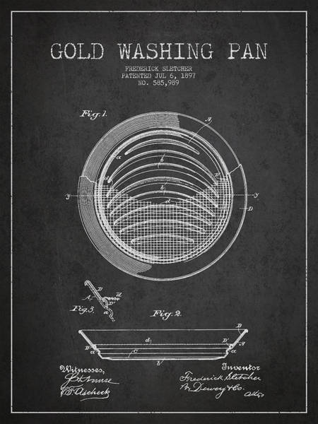 Gold Rush Wall Art - Digital Art - Gold Washing Pan Patent Drawing From 1897 by Aged Pixel