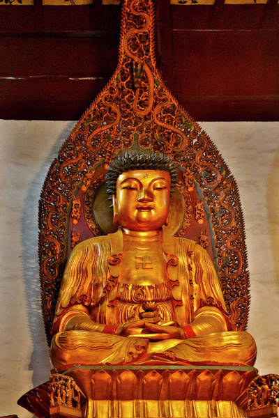 Chinese Lantern Wall Art - Photograph - Golden And Colorful Buddha At The Jade by Darrell Gulin
