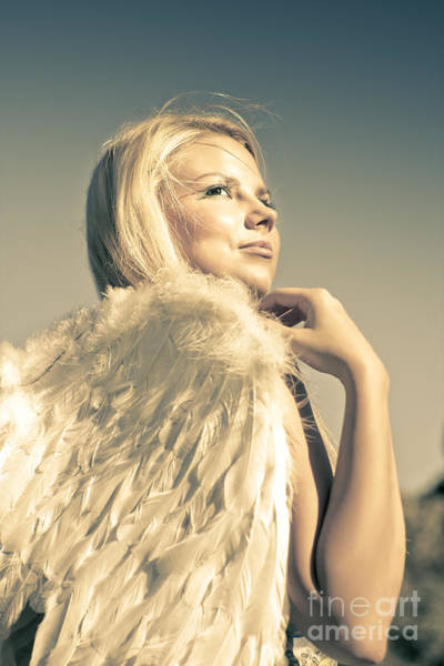 Guardian-angel Photograph - Golden Angel Looking To The Heavens by Jorgo Photography - Wall Art Gallery