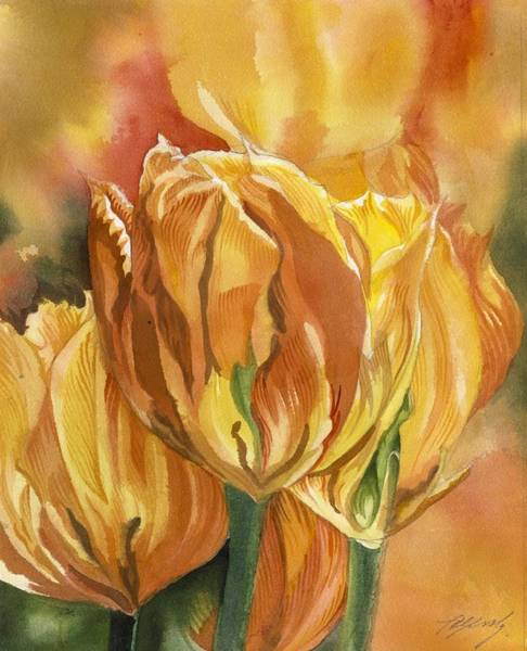 Painting - Golden Tulips by Alfred Ng