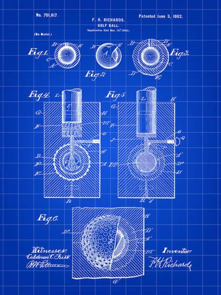 Wall Art - Digital Art - Golf Ball Patent 1902 - Blue by Stephen Younts