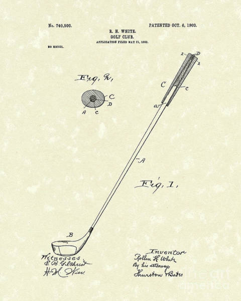 Drawing - Golf Club 1903 Patent Art by Prior Art Design