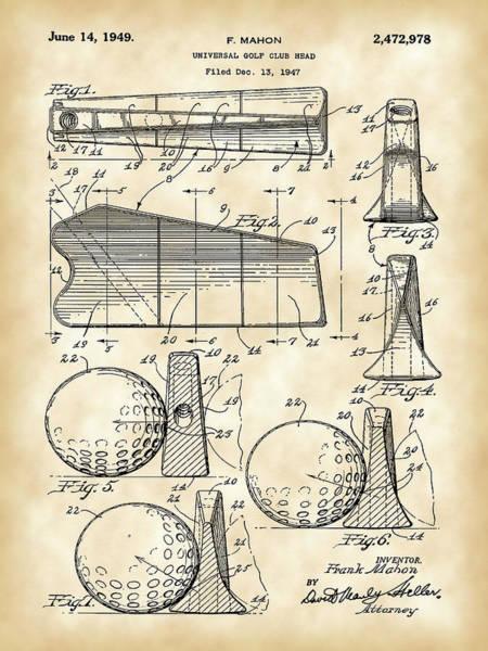 Wall Art - Digital Art - Golf Club Head Patent 1947 - Vintage by Stephen Younts