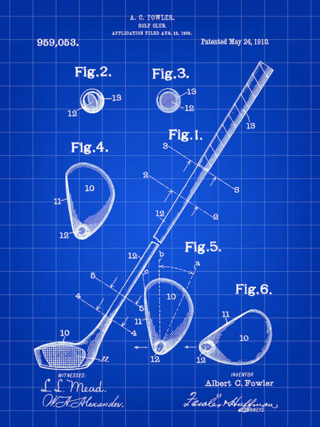 Vintage Patent Wall Art - Digital Art - Golf Club Patent 1909 - Blue by Stephen Younts
