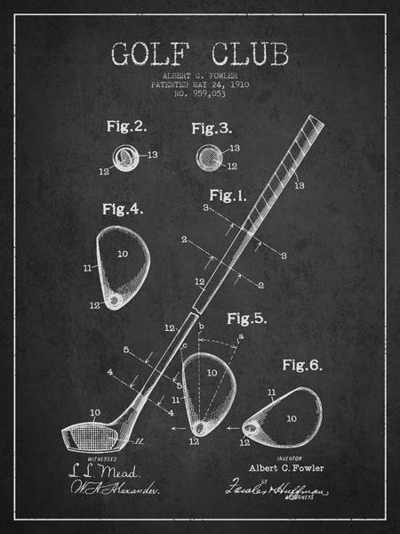 Wall Art - Digital Art - Golf Club Patent Drawing From 1910 by Aged Pixel