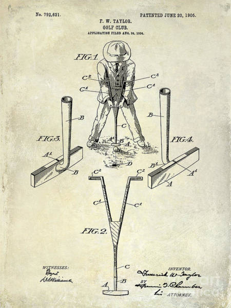 Golf Green Photograph - Golf Club Patent Drawing by Jon Neidert