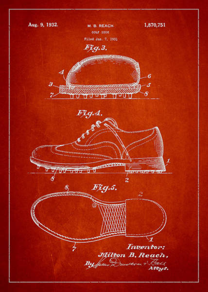 Golfing Digital Art - Golf Shoe Patent Drawing From 1931 by Aged Pixel