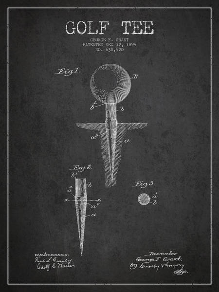 Pga Digital Art - Golf Tee Patent Drawing From 1899 by Aged Pixel