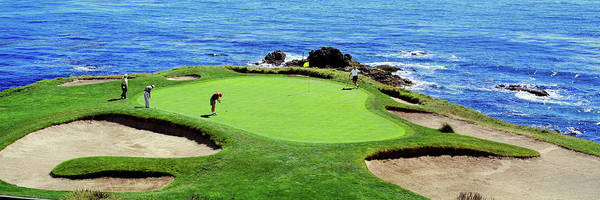 Pebble Beach Golf Course Photograph - Golfers Pebble Beach, California, Usa by Panoramic Images