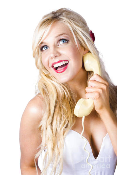 Joyous Photograph - Gorgeous Blond Woman Laughing On Telephone Call by Jorgo Photography - Wall Art Gallery