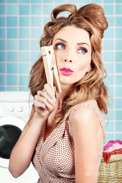 Photograph - Gorgeous Pin-up Woman Holding Large Cleaning Peg by Jorgo Photography - Wall Art Gallery