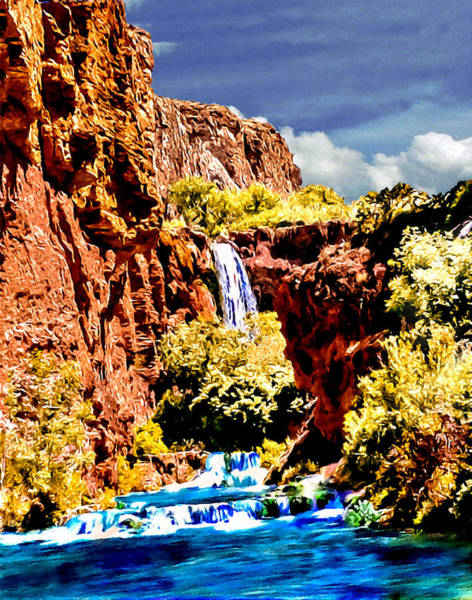 Photograph - Grand Canyon Waterfall by Bob and Nadine Johnston