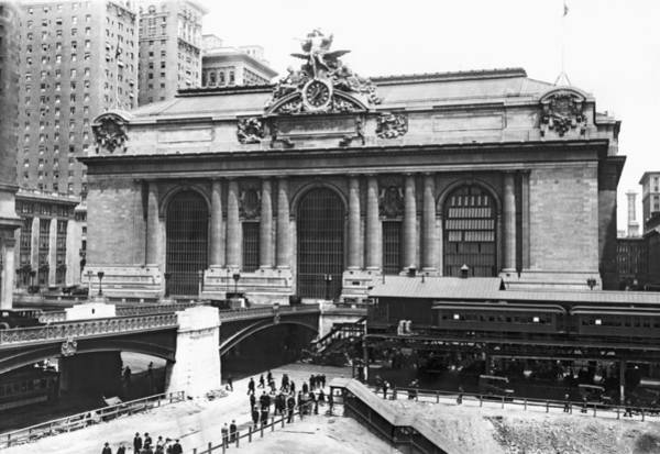 Wintry Photograph - Grand Central Station by Underwood Archives