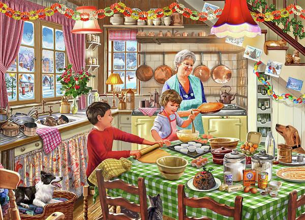 Wall Art - Painting - Grandma Christmas Baking by MGL Meiklejohn Graphics Licensing