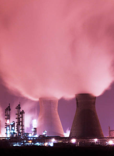Cooling Tower Photograph - Grangemouth Petrochemicals Plant by Gustoimages/science Photo Library