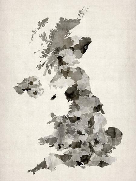 Kingdom Wall Art - Digital Art - Great Britain Uk Watercolor Map by Michael Tompsett