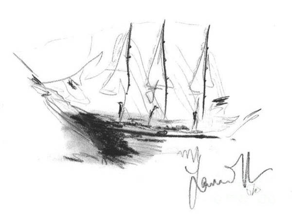 Drawing - Great Men Sailing by Laurie Lundquist