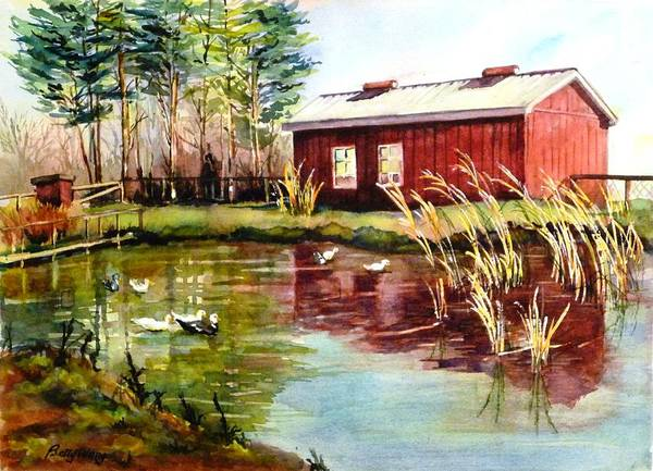 Painting - Green Acre Farm by Betty M M   Wong