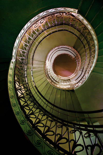 Wall Art - Photograph - Green And Brown Spiral Staircase by Jaroslaw Blaminsky