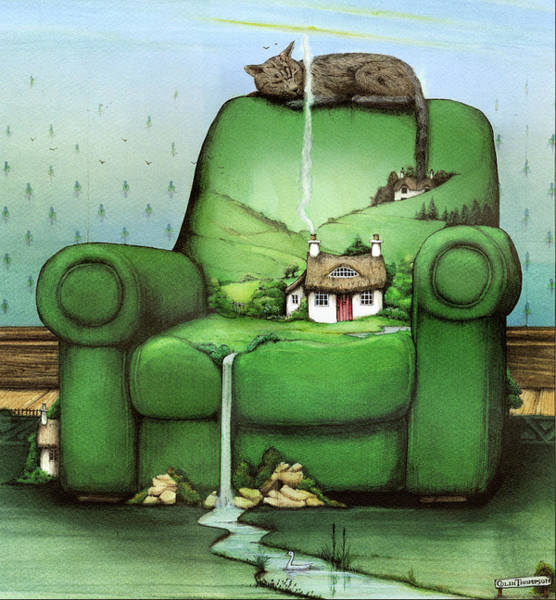 Wall Art - Painting - Green Armchair by MGL Meiklejohn Graphics Licensing