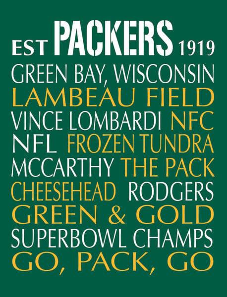 Wall Art - Digital Art - Green Bay Packers by Jaime Friedman