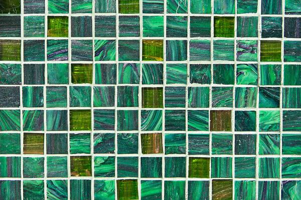 Cement Photograph - Green Tiles by Tom Gowanlock