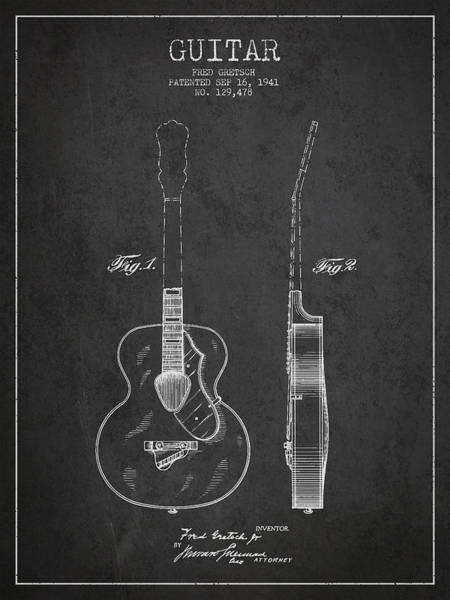 Patent Application Wall Art - Digital Art - Gretsch Guitar Patent Drawing From 1941 - Dark by Aged Pixel