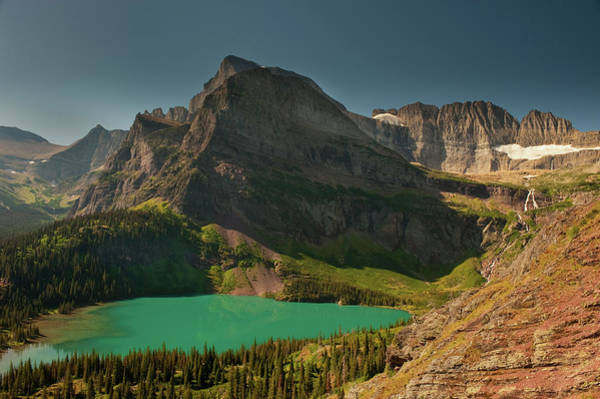 Evergreens Photograph - Grinnell Lake And Mount Gould, Glacier by Howie Garber