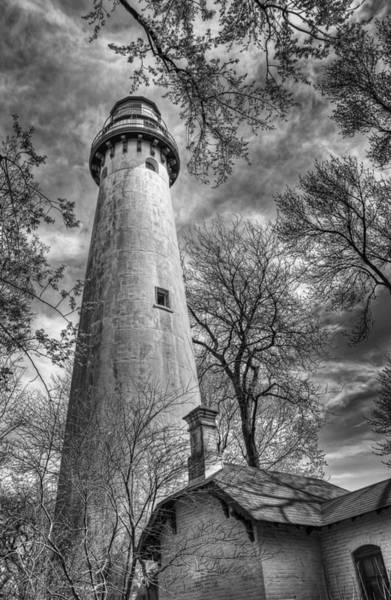 Black Cloud Photograph - Grosse Point Lighthouse by Scott Norris