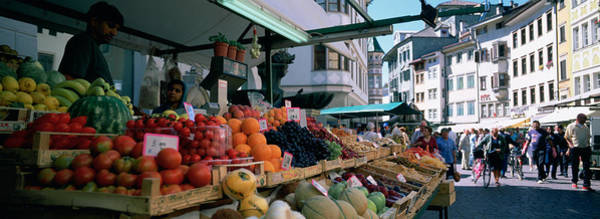 Fruit Stand Wall Art - Photograph - Group Of People In A Street Market by Panoramic Images