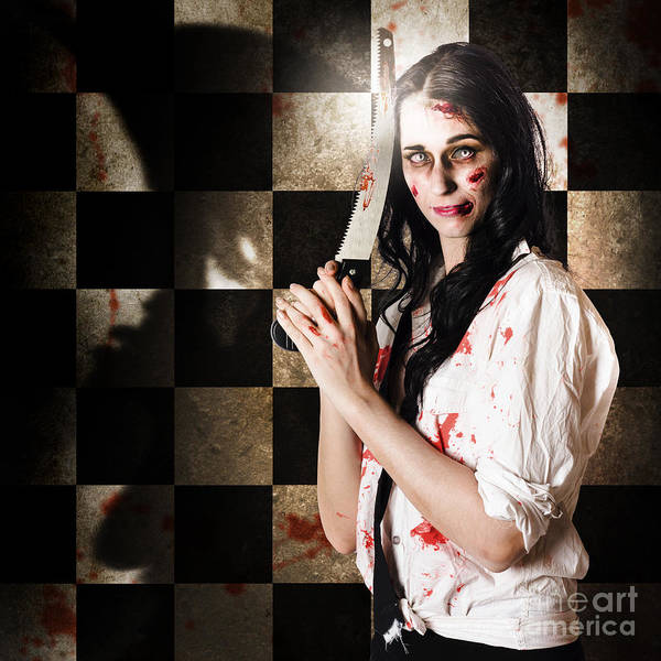 Photograph - Gruesome Evil Zombie Holding Bloody Saw  by Jorgo Photography - Wall Art Gallery