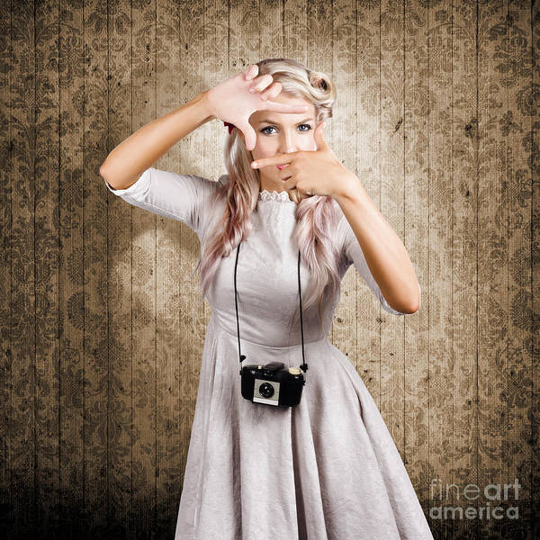 Arty Photograph - Grunge Girl With Retro Film Camera Concept Framing by Jorgo Photography - Wall Art Gallery
