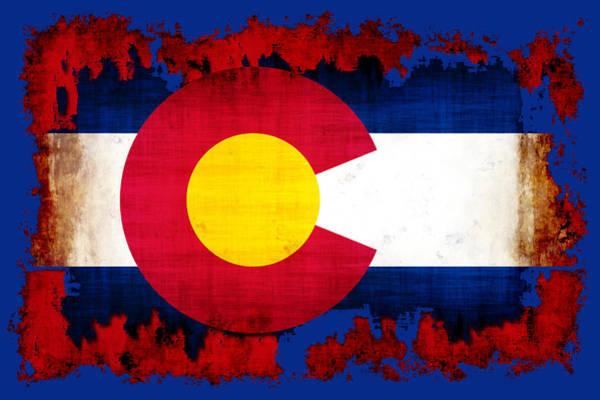 Wall Art - Digital Art - Grunge Style Colorado Flag by David G Paul
