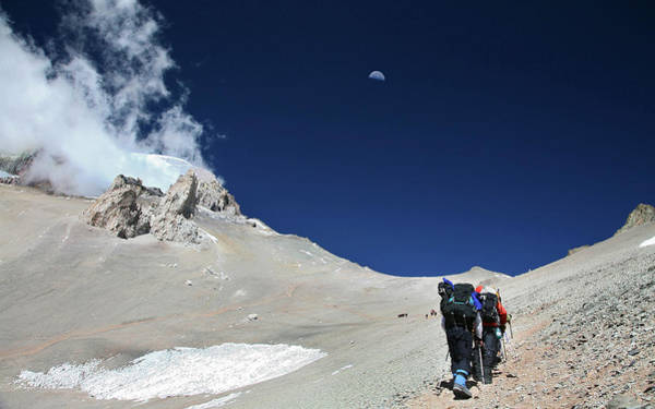 Mendoza Province Photograph - Guided Mountaineering Team Making by Johnathan Ampersand Esper