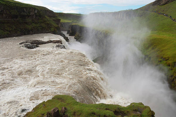 Crevice Photograph - Gullfoss Golden Waterfall On River by Martin Moos