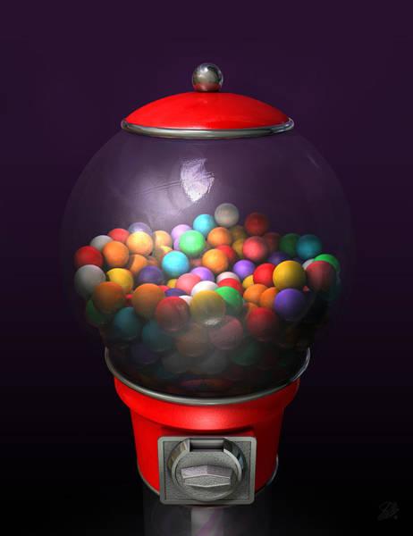Reflective Digital Art - Gumball Dispensing Machine Dark by Allan Swart