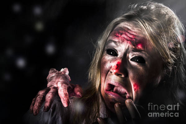 Afraid Photograph - Halloween Horror. Zombie In Fear From Evil Thing by Jorgo Photography - Wall Art Gallery