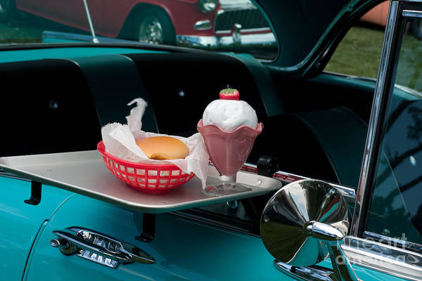 Photograph - Hamburger Drive In Classic Car by Gunter Nezhoda