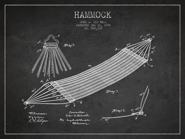 Sleeping Digital Art - Hammock Patent Drawing From 1895 by Aged Pixel
