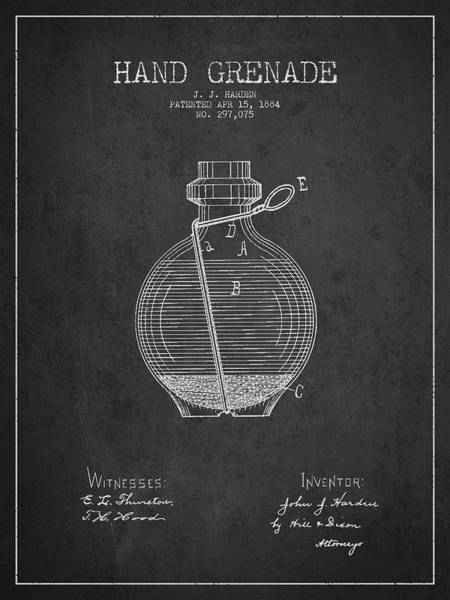 Grenade Wall Art - Digital Art - Hand Grenade Patent Drawing From 1884 by Aged Pixel