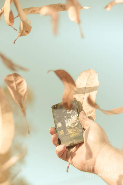 Smartphone Photograph - Hand Of Man With Smart Phone Technology In Nature by Jorgo Photography - Wall Art Gallery