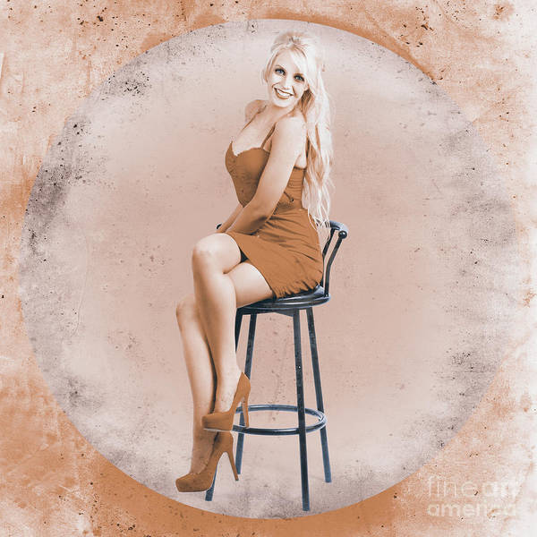 Wall Art - Photograph - Happy American Style Pin-up Girl On Retro Chair by Jorgo Photography - Wall Art Gallery