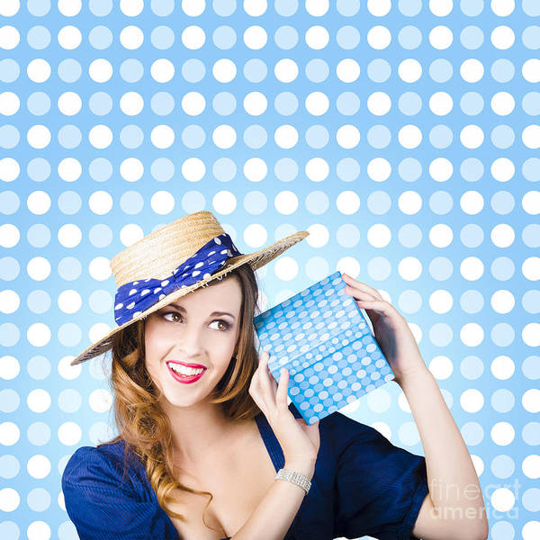 Gift Wrap Photograph - Happy Birthday Girl Holding Present by Jorgo Photography - Wall Art Gallery
