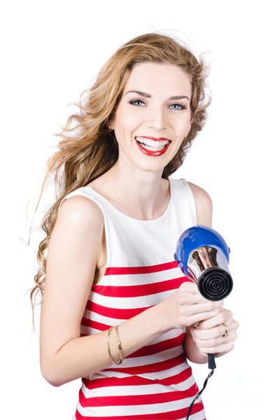 Hairstyle Photograph - Happy Female Hairdresser Holding Hairdryer by Jorgo Photography - Wall Art Gallery