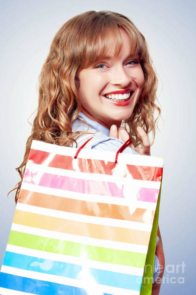 Vivacious Wall Art - Photograph - Happy Female Retail Shopper With Bag And Smile by Jorgo Photography - Wall Art Gallery