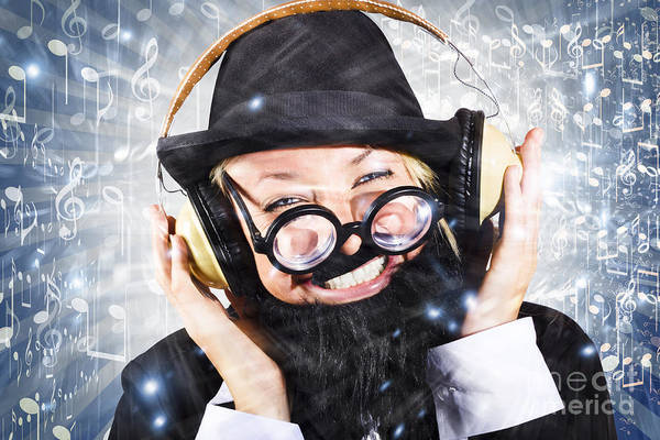 Partying Photograph - Happy Nightclub Man Dancing At Silent Disco Party by Jorgo Photography - Wall Art Gallery
